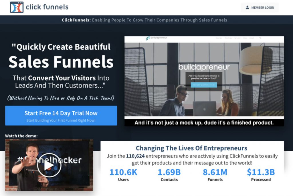 the homepage of ClickFunnels